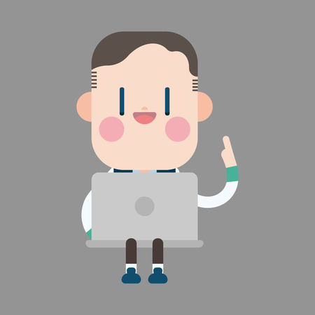 man using computer: Character office man using computer theme elements