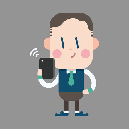 man on cell phone: Hombre de la Oficina de caracteres utilizando elementos tem�ticos de tel�fonos celulares