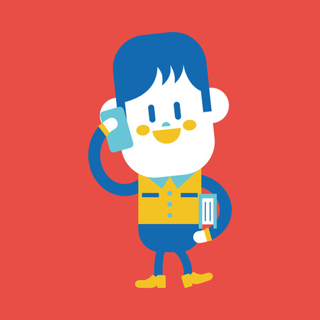 boy at phone: Character illustration design. Boy using cell phone cartoon,eps