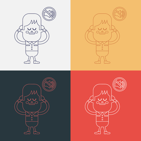 Character illustration design. Boy was prohibited to speak cartoon,eps Vector