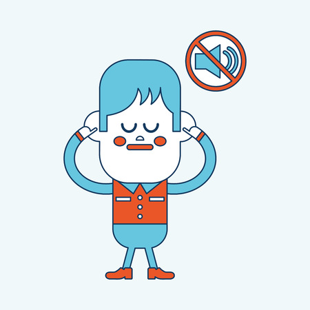 loudly: Character illustration design. Boy was prohibited to speak cartoon,eps Illustration