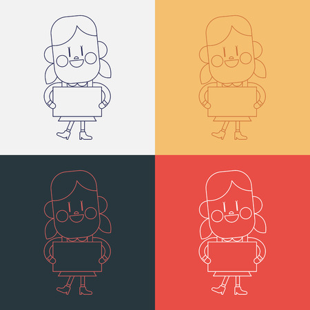 delivering: Character illustration design. Girl delivering the speech cartoon,eps Illustration