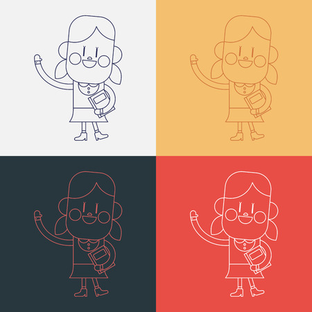greeting people: Character illustration design. Girl greeting people cartoon,eps