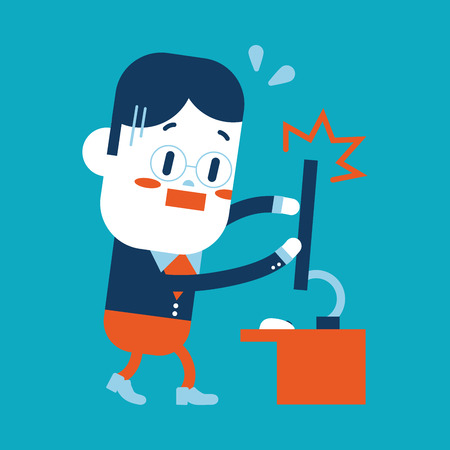 Character illustration design. Businessman broken computer cartoon Vector