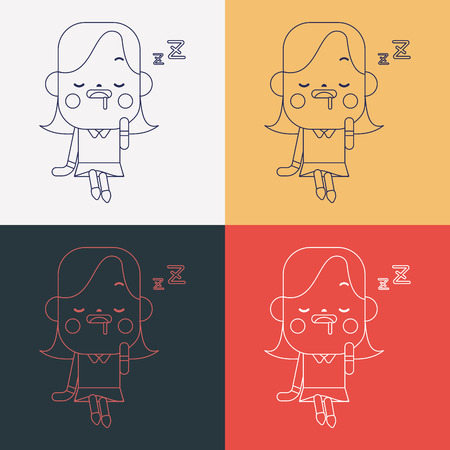 dozing: Character illustration design. Businesswoman dozing cartoon,eps