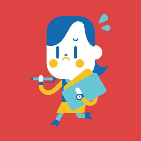 Karakter illustratie ontwerp. Zakenvrouw drukke cartoon Stock Illustratie
