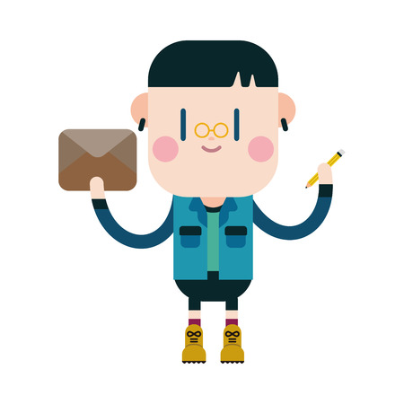 writing letter: Character illustration design. Boy writing letter cartoon