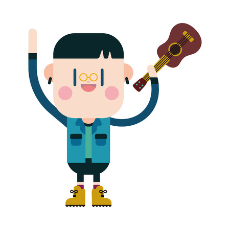 boy playing guitar: Character illustration design. Boy playing guitar cartoon Illustration