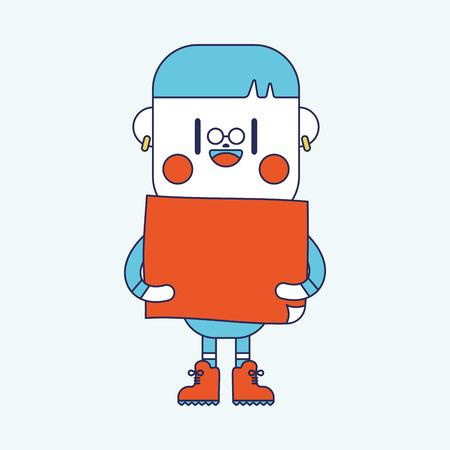 character illustration: Character illustration design. boy board cartoon