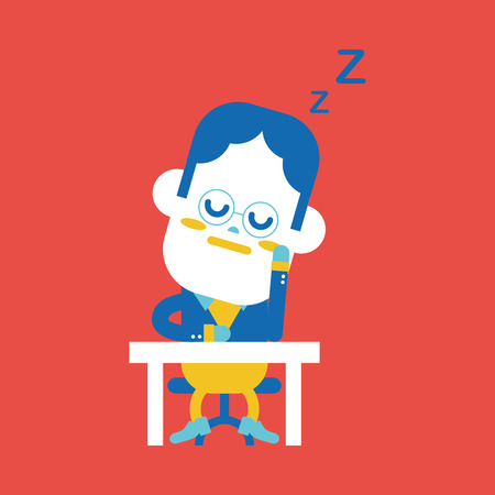 dozing: Character illustration design. Businessman dozing cartoon