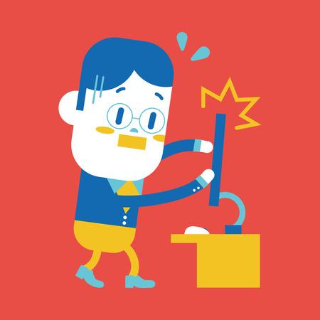 Character illustration design. Businessman broken computer cartoon,eps Vector