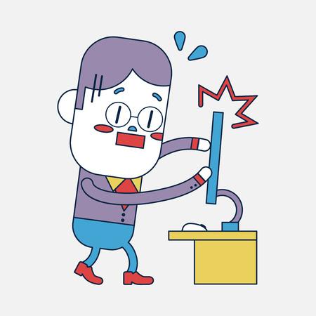 broken computer: Character illustration design. Businessman broken computer cartoon,eps