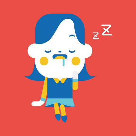 sleepy woman: Character illustration design. Businesswoman dozing cartoon