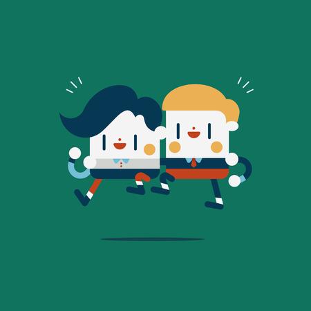 help each other: Character illustration design. Businessmen concept work together and help each other cartoon Illustration