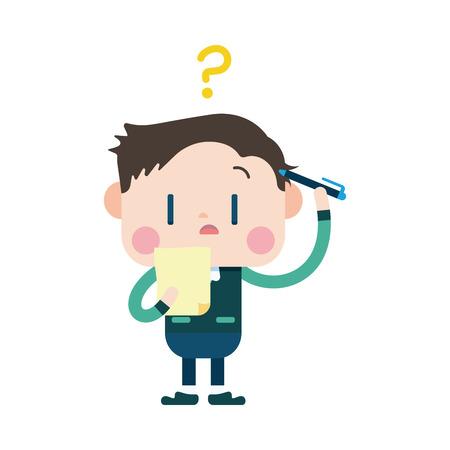 confused businessman: Character illustration design. Businessman having question cartoon