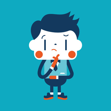 thinking icon: Character illustration design. Businessman thinking cartoon