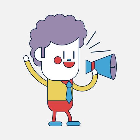 loudspeakers: Character illustration design. Businessman loudspeakers cartoon,eps