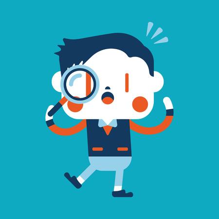 Character illustration design. Businessman using magnifying glass cartoon Vector