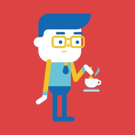 character illustration: Character illustration design. Businessman drinking coffee cartoon