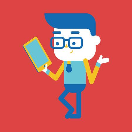 computador tablet: Ilustração do caráter design. Empresário usando tablet computador dos desenhos animados, eps