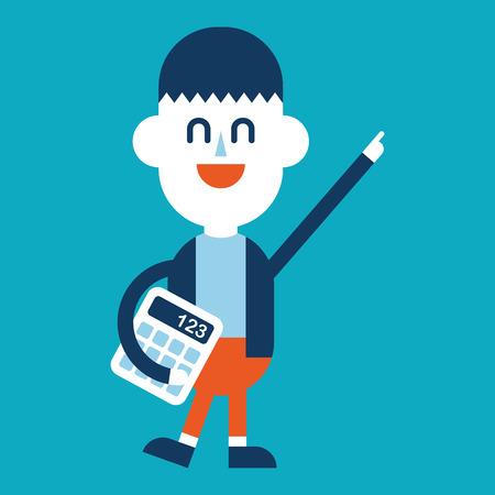 using: Character illustration design. Businessman using calculator cartoon,eps Illustration