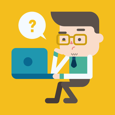 working on computer: Character illustration design. Businessman using computer cartoon,eps Illustration