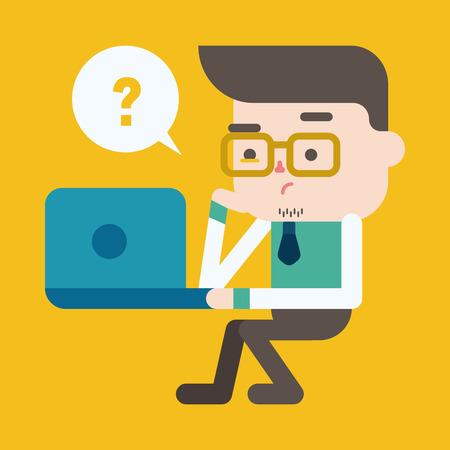 computadora caricatura: Ilustración, diseño de personajes. Hombre de negocios usando la computadora de dibujos animados, eps
