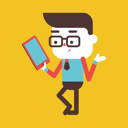 tablet computer: Character illustration design. Businessman using tablet computer cartoon,eps Illustration