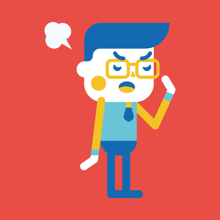 unhappy worker: Character illustration design. Businessman angry cartoon,eps