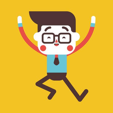 character illustration: Character illustration design. Businessman joyful cartoon,eps