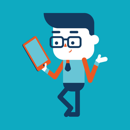 Character illustration design. Businessman using tablet computer cartoon,eps Vector