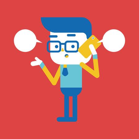telefono caricatura: Ilustraci�n, dise�o de personajes. Hombre de negocios usando dibujos animados tel�fono celular, eps