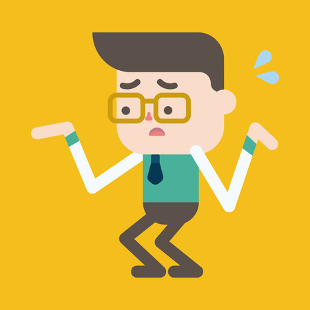 confused businessman: Character illustration design. Businessman having question cartoon,eps Illustration