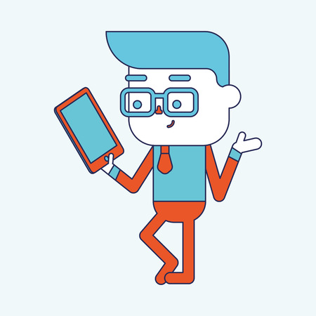 computador tablet: Character illustration design. Businessman using tablet computer cartoon,eps Ilustração