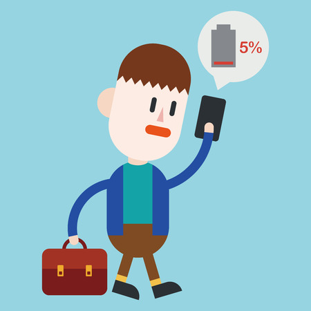 duration: Character illustration design. Businessman cellphone out of charge cartoon,eps