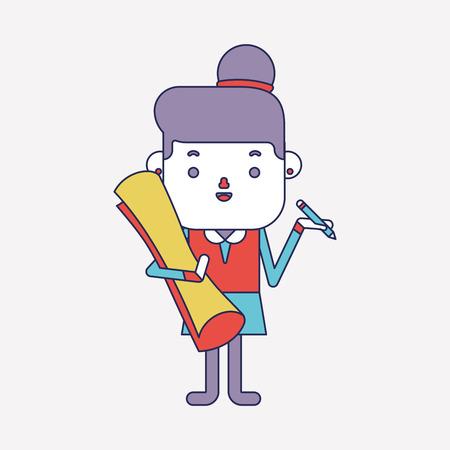 character illustration: Character illustration design. Businesswoman writing cartoon Illustration