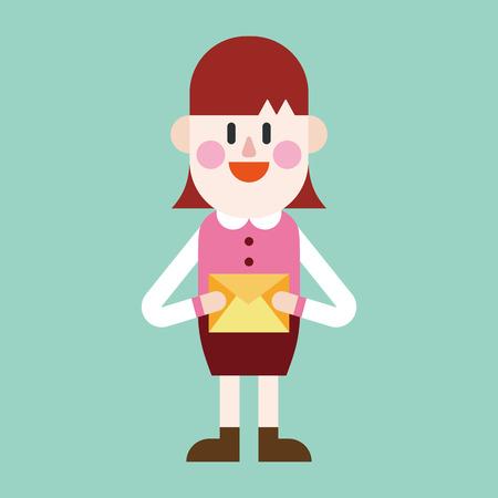 small business woman: Character illustration design. Businesswoman sending letter cartoon