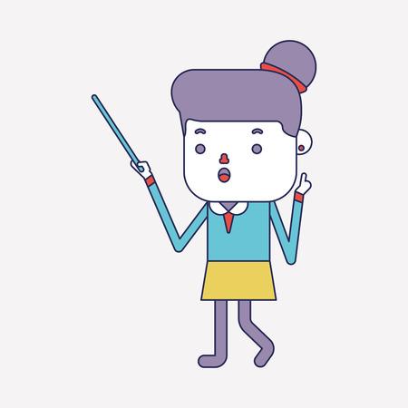 delivering: Character illustration design. Businesswoman delivering the speech cartoon