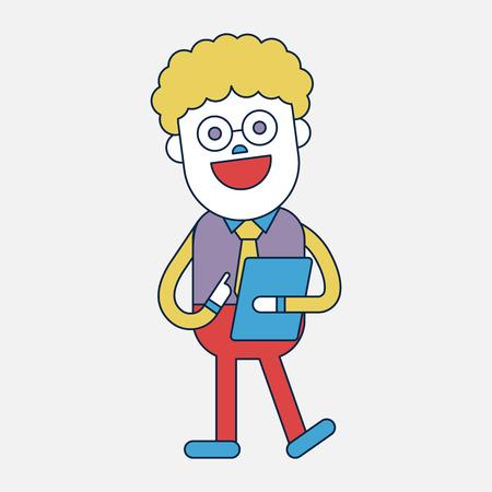 delivering: Character illustration design. Businessman delivering the speech cartoon
