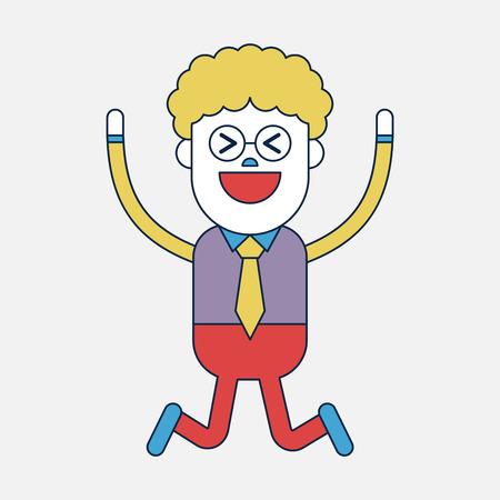 Character illustration design. Businessman joyful cartoon Vector