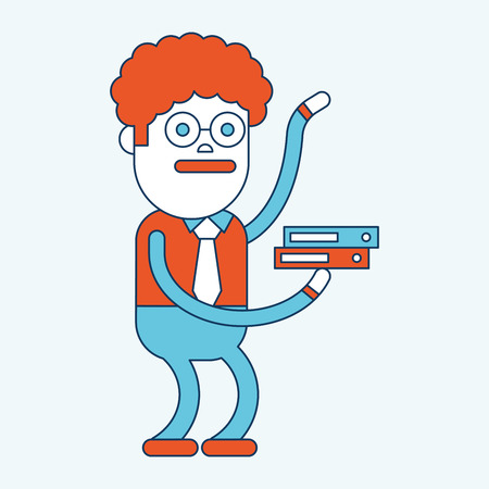 character illustration: Character illustration design. Businessman busy cartoon