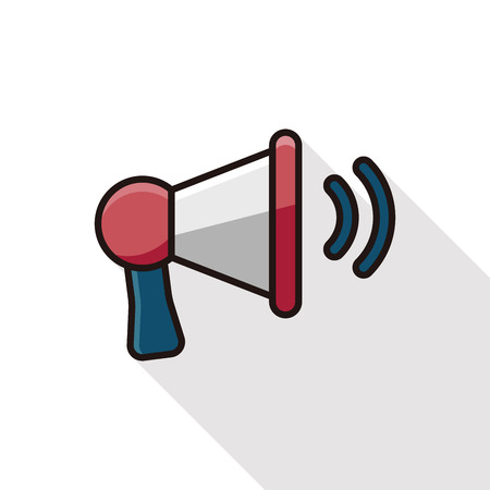 mega phone: loudspeaker icon line icon with long shadow Illustration