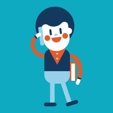 telefono caricatura: Ilustraci�n, dise�o de personajes. Hombre de negocios usando dibujos animados tel�fono celular