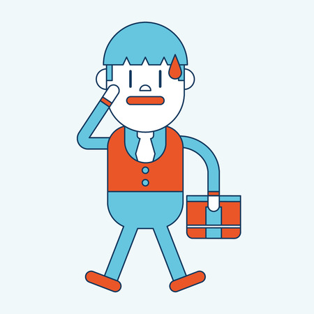 and worry: Character illustration design. Businessman worry cartoon