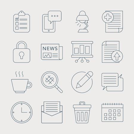 Office lijn icon set Stock Illustratie