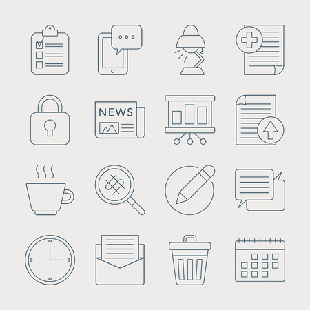 briefing: Office line icon set