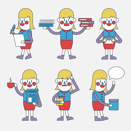character illustration: Character illustration design. Businesswoman set cartoon