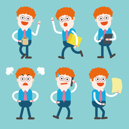 character illustration: Character illustration design. Businessman set cartoon