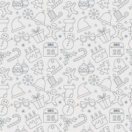 Christmas line icon pattern set