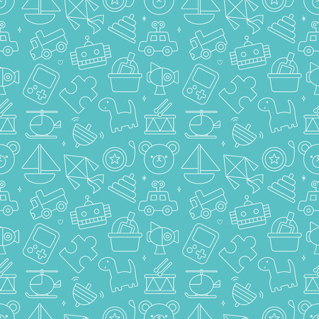 toy line icon pattern set Illustration